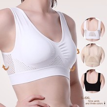 Hollow Grid Breathable Sports Bras Women Out Padded Bra Top S- 5XL Plus Size Gym Running Fitness Yoga