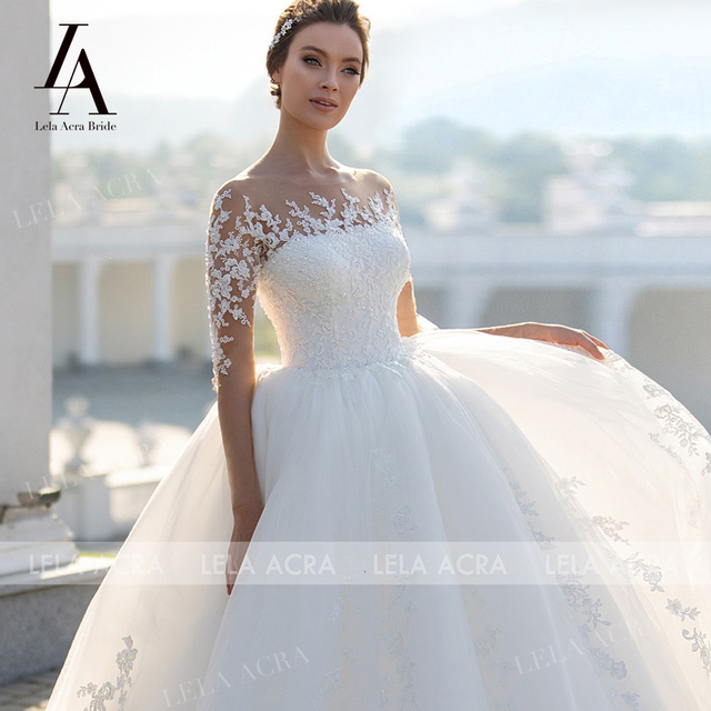 Fashion Appliques Lace Wedding Dress Beaded Long Sleeve Illusion Ball Gown Vestido De Novia Princess LelaAcra S102 Bridal Gown 4