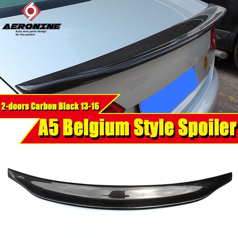 A5 Belgium Style Rear Spoiler For Audi S5 High-quality Carbon Fiber 2DR Trunk Wing car styling Decorations 13-16