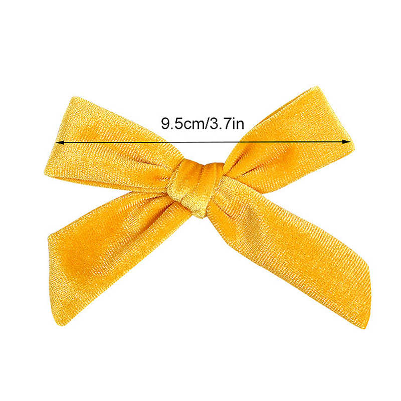"""3.7"""" Kids Velvet Knotted Bow Hair Clips Candy Color Baby Girls Hairpins Cute Lovely Children Barrettes Headwear Hair Accessories"""