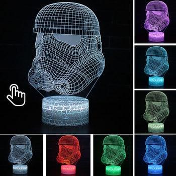 Star Wars Darth Vader Anime Figure Acrylic 3D Illusion LED Lamp Colourful NightLight Death Star Mask Yoda Model Toys Child Gift 39