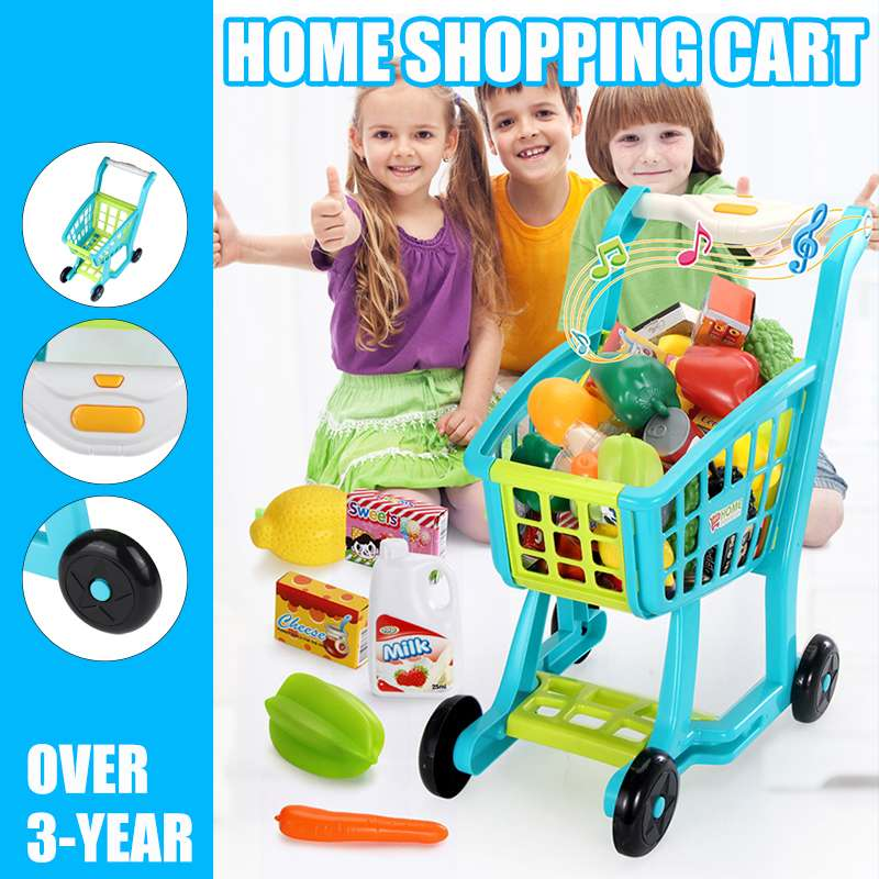 Groceries Cart Trolley Toys Kids Light Music Supermarket Shopping For Girls Kitchen Play House Simulation Fruits Pretend Toy