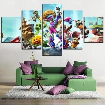5 piezas de pósteres de juegos de pintura de plantas y los zombis... pósteres de dibujos animados para el hogar y decoración para hábito