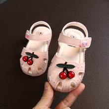 Summer girl sandals baby children princess casual shoes baby little girl cherry color closed toe toddler shoes sandals size15-27