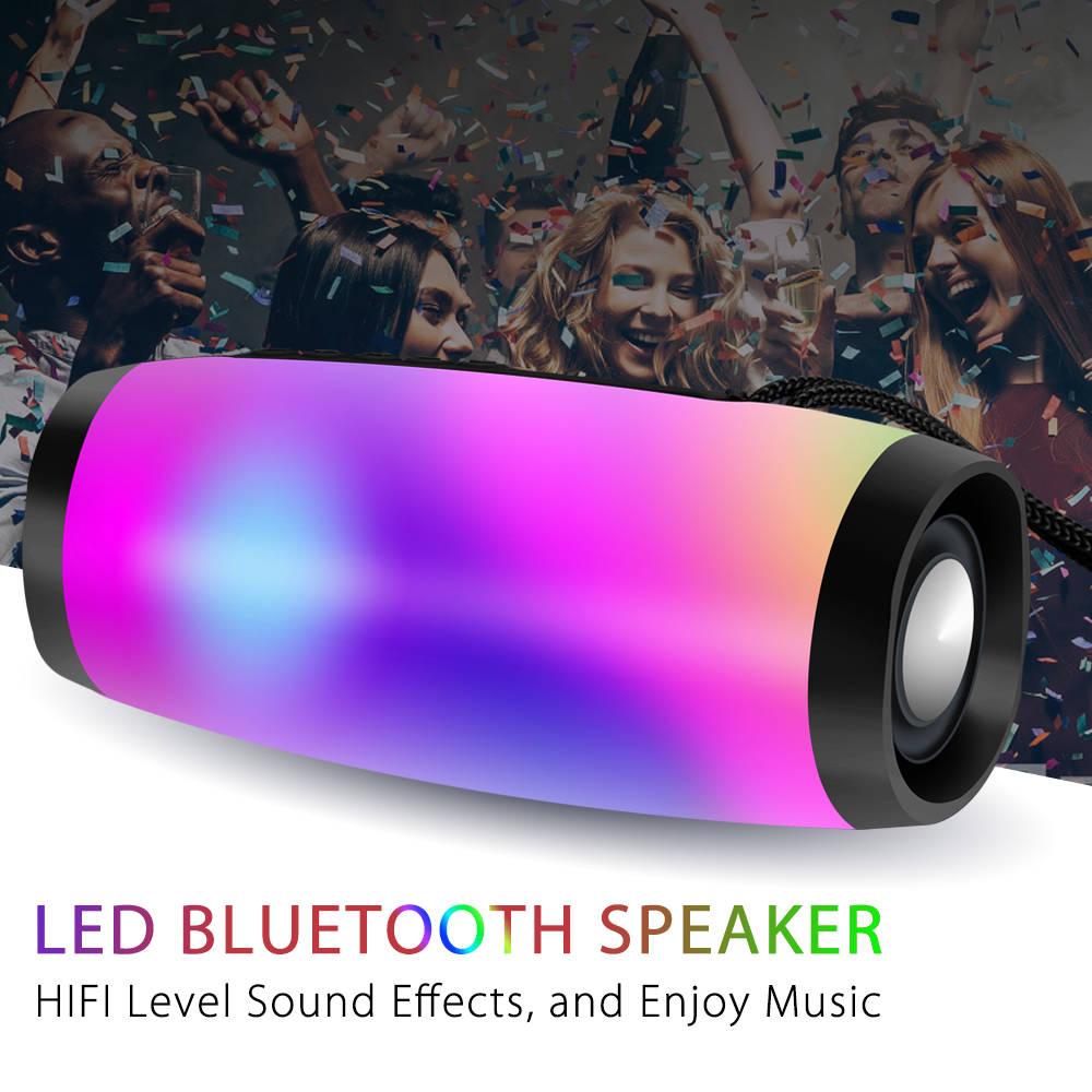 Портативная Bluetooth-колонка, беспроводная басовая колонка, водонепроницаемая уличная USB-колонка с поддержкой s, AUX, TF, сабвуфер, светодиодный ...