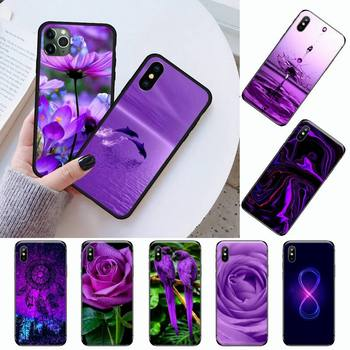 infinity on purple flower coque Phone Case for iPhone 11 12 pro XS MAX 8 7 6 6S Plus X 5S SE 2020 XR image