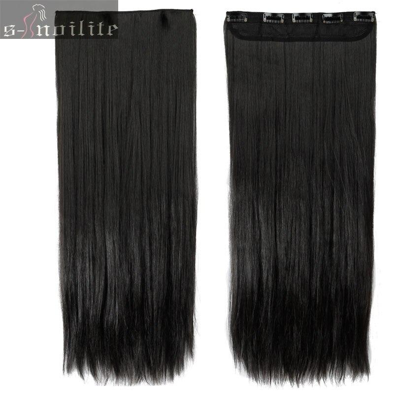 S-noilite, накладные волосы на заколках, черный, коричневый, натуральные, прямые, 58-76 см, длинные, высокая температура, синтетические волосы для наращивания, шиньон - Цвет: natural black