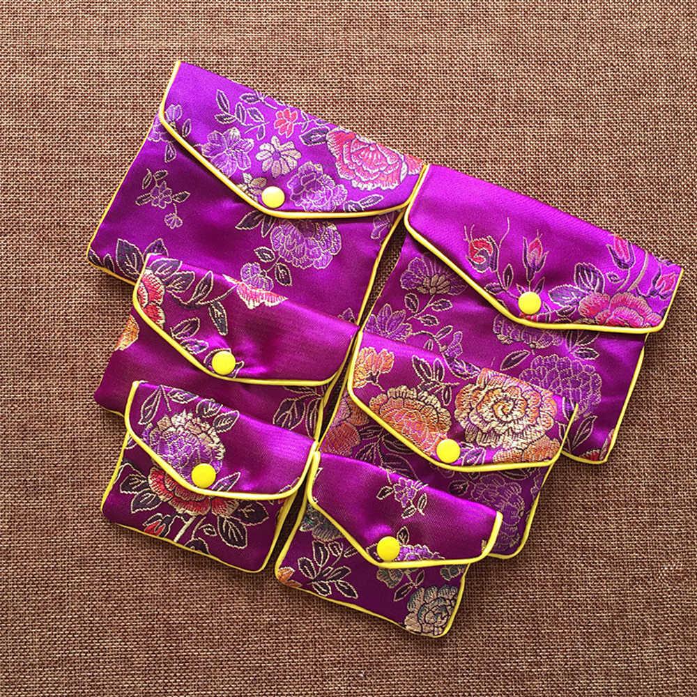 Baru 1PC Cina Brocade Buatan Tangan Bordir Sutra Perhiasan Tas Kecil Hadiah Penyimpanan Kantong Jepret Ritsleting Satin Dompet Koin