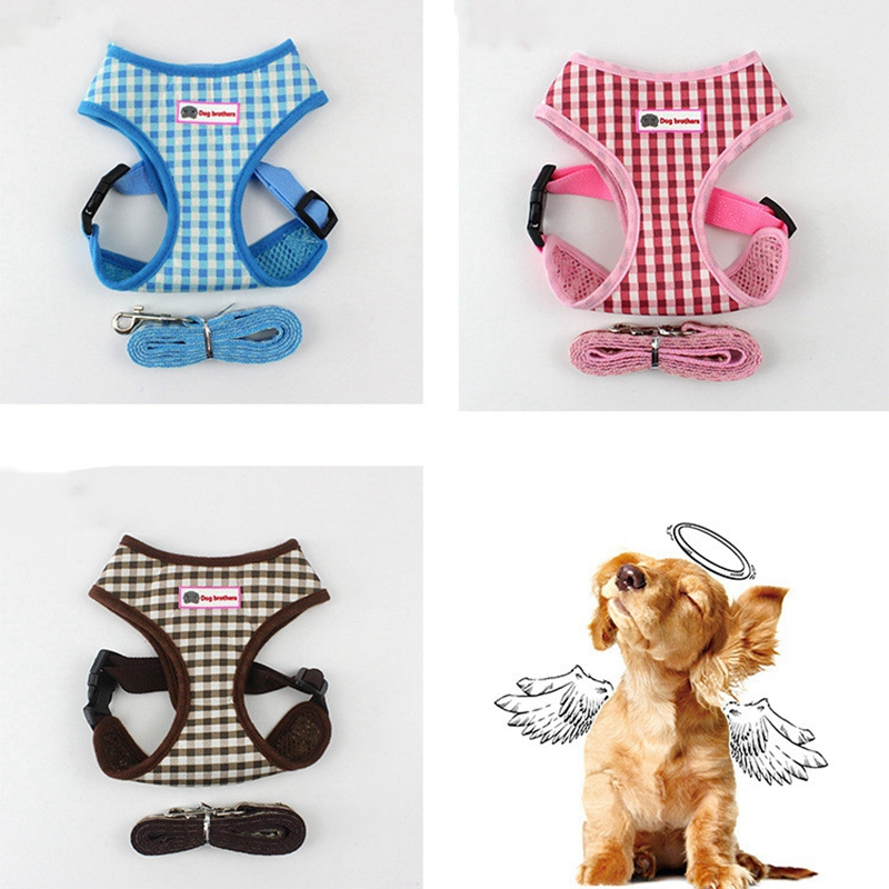Dog Harness for Chihuahua Pug Small Medium Dogs Plaid Nylon Mesh Puppy Cat Harnesses Vest Breathable Walking Lead Leash Petshop