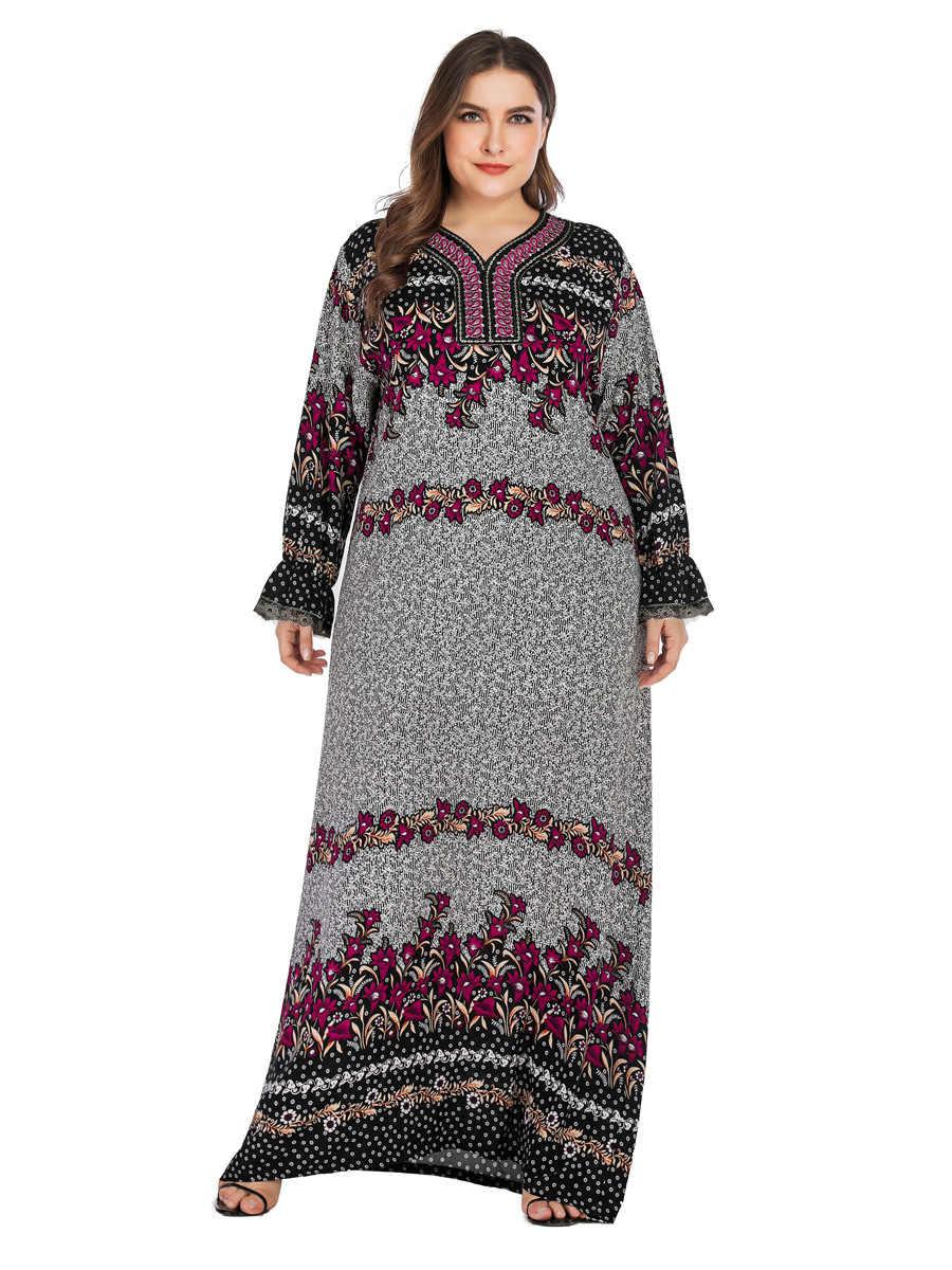 Женское осеннее богемное Платье макси с принтом плюс размер мусульманский кафтан абайя марокканский халат Дубай Арабский ОАЭ Рамадан платье VKDR1754