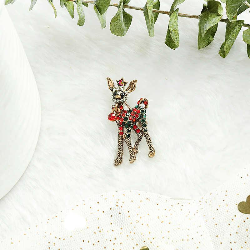 Etnis Baru Fashion Natal Bros Handmade Kristal Multi Gaya Bahagia Festivel Bros untuk Wanita Festival Hewan Perhiasan