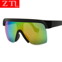 ZT Oversized Visor Shield Sunglasses One Pieces Half Frame Cover Women Flat Top Windproof Sun Glasses Men Reinforced