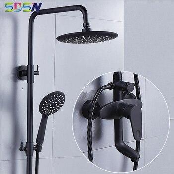 Bathroom Shower Set Black Bronze Bath Shower Mixer Faucet Round Shower Head Black Shower System Rainfall Bath Shower Mixer Tap