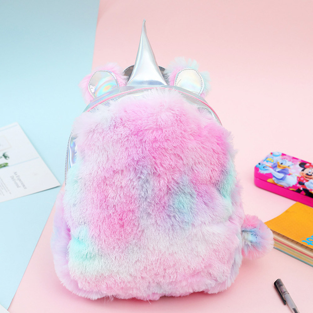 Mini Unicorn Backpack Bags For Women 2019 Winter Faux Fur Small Bagpacks Hologram Leather Teenager Schoolbag Mochila Feminina *