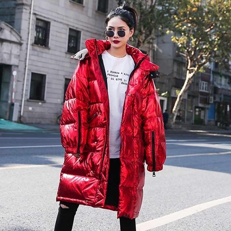 Luxus Glänzend 2020 Winter Jacke Frauen Lange Mit Kapuze Dicke Warme Unten Padded Parka Rot Puffer Jacken Damen Mantel Weibliche