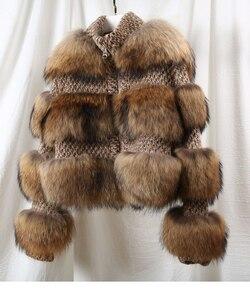 Image 3 - Oftbuy 2020 Winterjas Vrouwen Parka Echte Bontjas Natuurlijke Wasbeer Bont Wollen Jas Bomberjack Koreaanse Streetwear Nieuwe Oversized