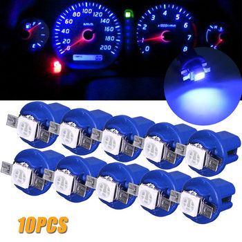 10Pcs LED Light Car Gauge Speed Dash Bulb Dashboard instrument Light Wedge Interior Lamp B8.5D 509T B8.5 5050 Led 1 SMD T5 Lamp