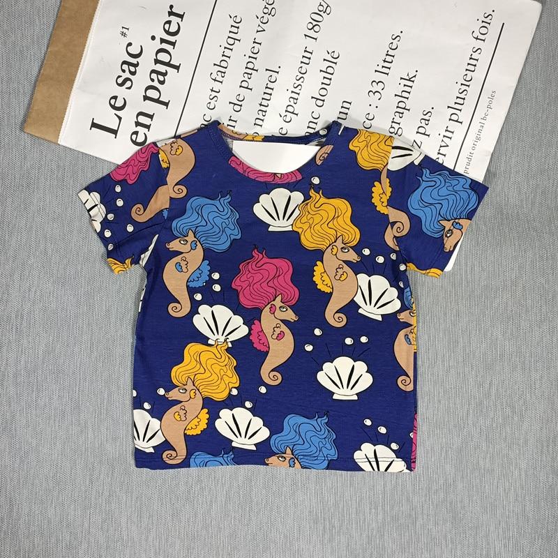 BOBOZONE Cartoon Flowers birds fruit t-shirt for kids boys girls summer top 4