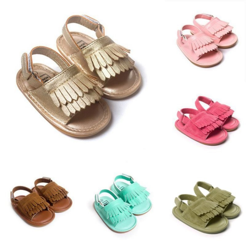 Summer Baby First Walkers Soft Bottom Fringe Candy Color Shoes Girls Baby Toddler Slippers Boys Prewalkers