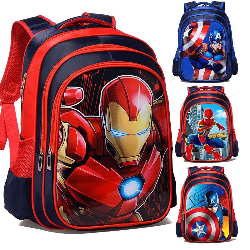 3D Cartoon Iron Man Spiderman Captain America Boy Girl Children Kindergarten School Bag Teenager Schoolbags Student Backpacks