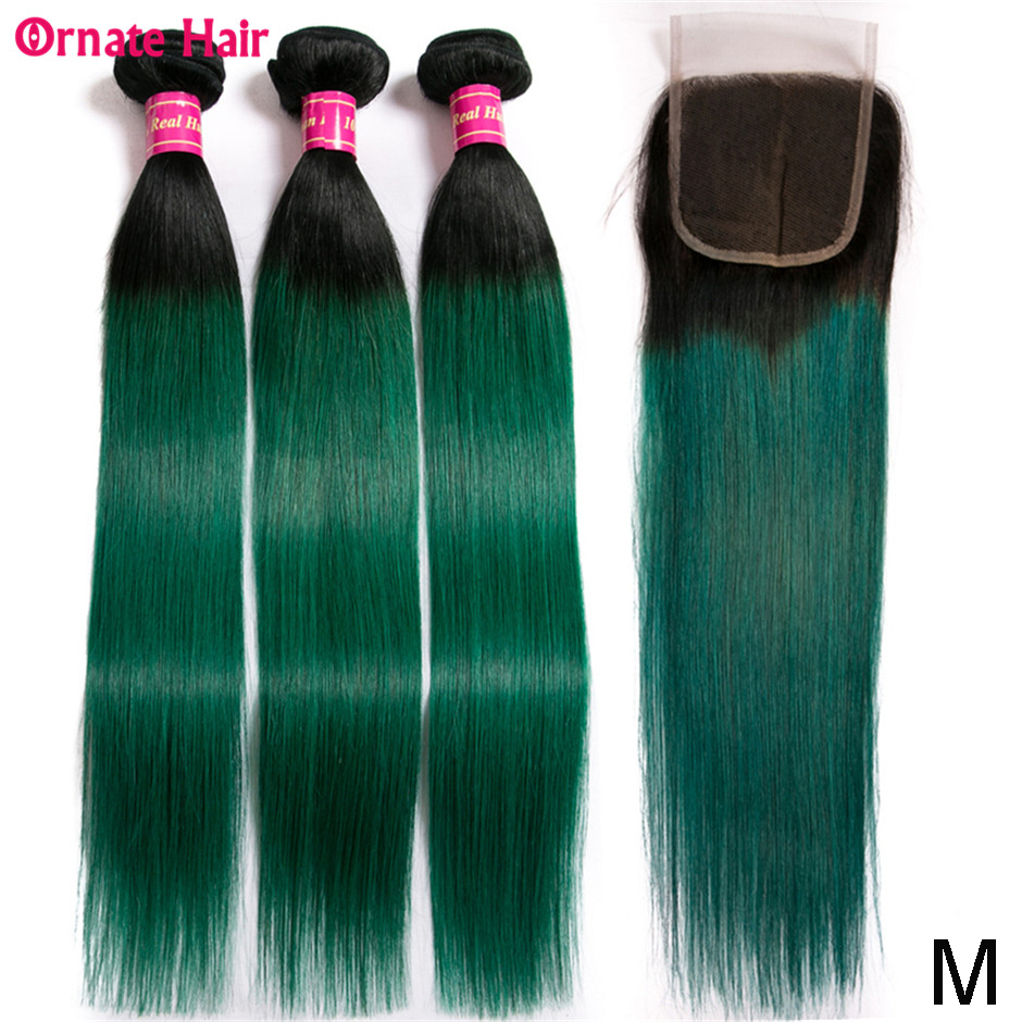 Ombre Colored Straight Human Hair Bundle With Closure Brazilian Hair Weave Bundles With Closure 10-24inch Middle Ratio Non-remy