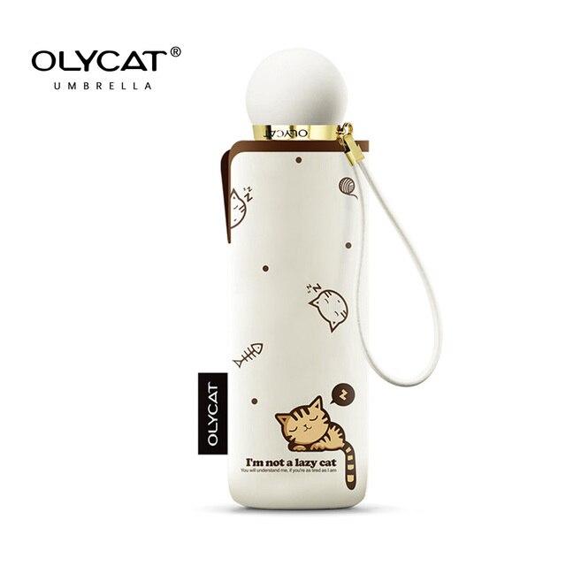 OLYCAT Carino Mini Ombrello Gatto Ultralight Tasca Bambini Ombrelli Cinque Pieghevole di Protezione Del Sole Antivento Del Fumetto Ombrello Pioggia Donne