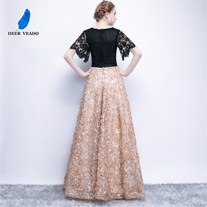Image 2 - DEERVEAO YS409 Prom Dresses Long Vintage A Line O Neck Half Sleeves Evening Dress Women Occasion Party Dresses Gown