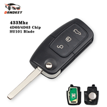 Dandkey Flip Uncut Key 433MHz 3 Buttons Remote Key For Ford Focus 2 3 Mondeo Fiesta C Max S Max Galaxy 4D60 4D63 40/80bits Chip
