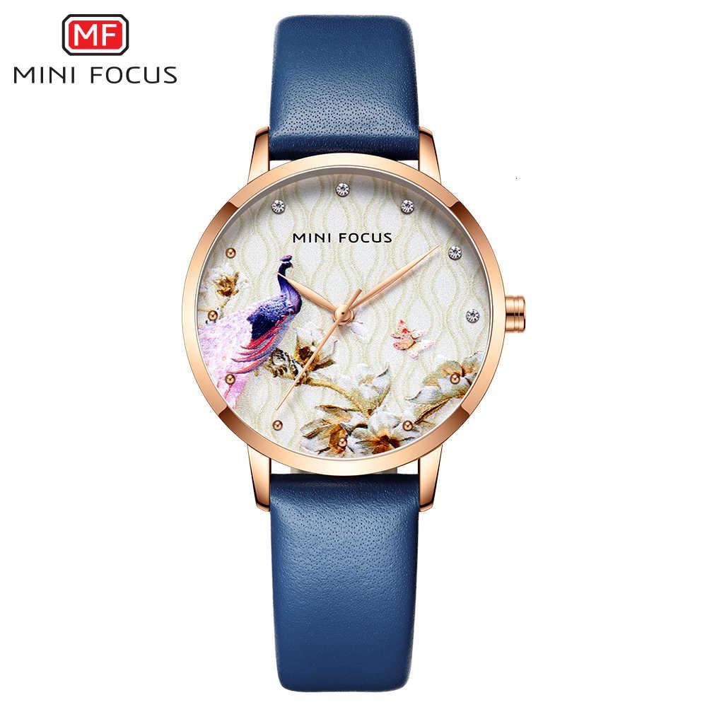 מיני פוקוס נשים שעונים עמיד למים כחול שעון עור מותג יוקרה אופנה מקרית חג המולד שמלת קוורץ Womans שעון גבירותיי