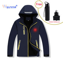 цены 2019 NEW Heated Jacket Outdoor Hiking Camping Jacket Windproof Waterproof Thermal  Softshell Women Men Sport Cloths Size M-XXXXL