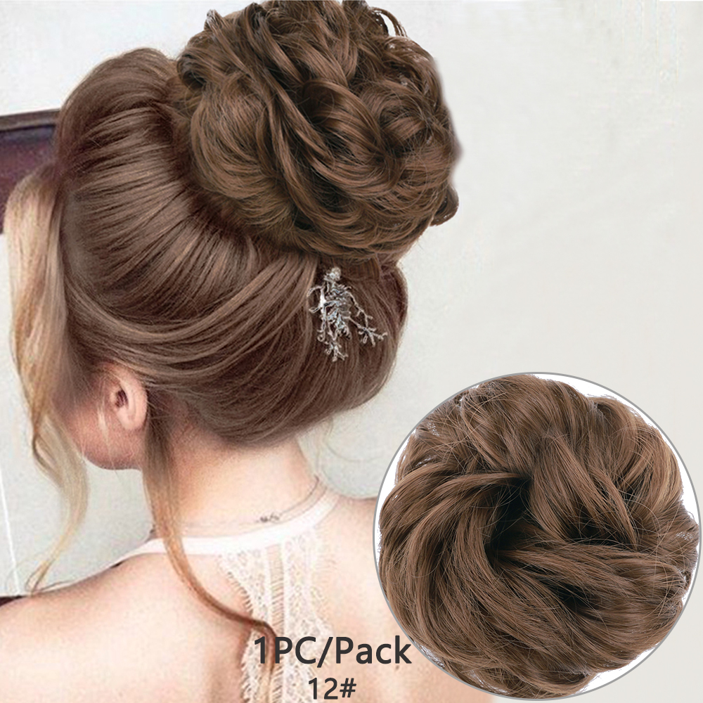 Messy Hair Bun Scrunchie Synthetic Chignon Donut Hairpieces For Women Gary Brown Color Elastic Hair Rope Hair Extensions