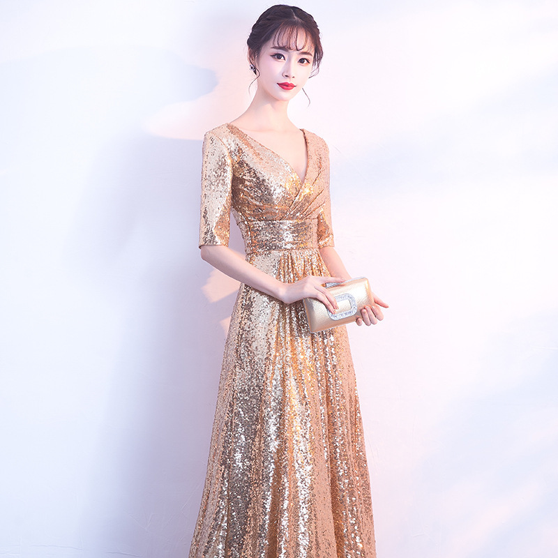 2020 Rushed Cocktail Dress Gengli Golden Evening Dress Banquet 2020 New Long Noble Elegant Atmosphere Party Celebrity Hostess