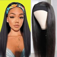 Wig Made-Wigs Human-Hair Straight Brazilian Long Baicheng with Head-Band No-Glue Scarf