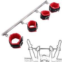 BDSM Bondage Set Stainless Steel Adjustable Spreader Bar Sex Slave Handcuffs Ank