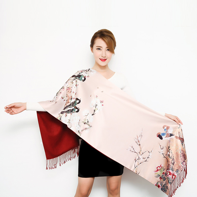 Thick Autumn Winter Women Scarves Long Section Double-sided Scarf Chinese Style Silk Shawl Ladies Wrap Cashmere Pashmina Muffler