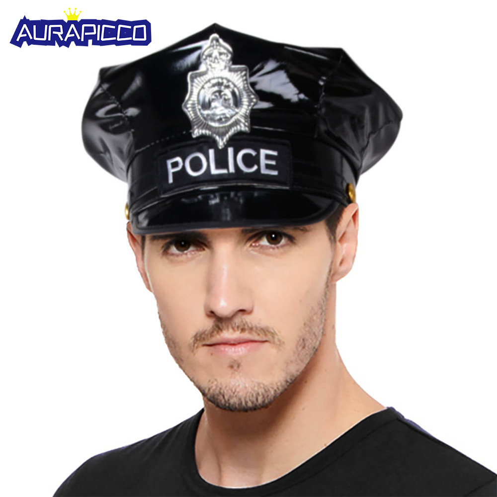 Ladies Men/'s Police Cap Adult Unisex Party Black Cop Hat Fancy Dress Accessory
