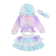 Newborn Toddler Girls 3 Pcs Outfits Suits Tie Dye Gradient Color Hoodies Shirts + Ruffle Layer Skirt + Bow Headband Autumn(China)