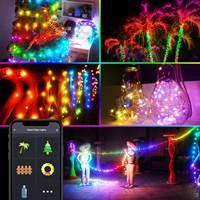 Tira de luces LED RGB a color, wifi, Smart life, Tuya, app, control inteligente, sincronización de música, temporizador, enchufe USB, decoración, voz de Alexa y Google Home