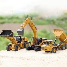 TongLi-jouets en alliage de métaux, machine à creuser, chargeur de roues, camion, véhicule technique, échelle 1:50, ensemble cadeau de noël pour garçons