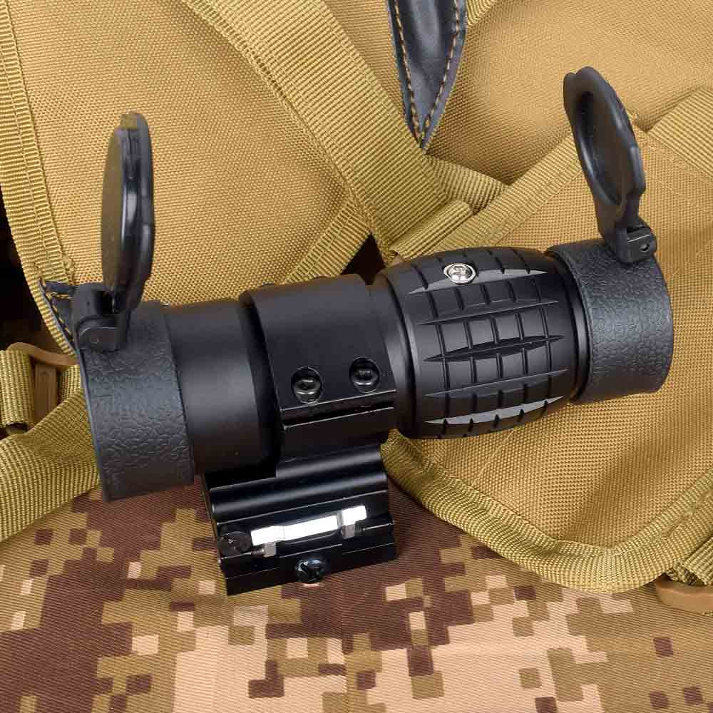 Optic Sight 3X Magnifier Scope Compact Hunting Riflescope Sights With Flip Up Cover Fit For 20mm Rifle Gun Rail Mount