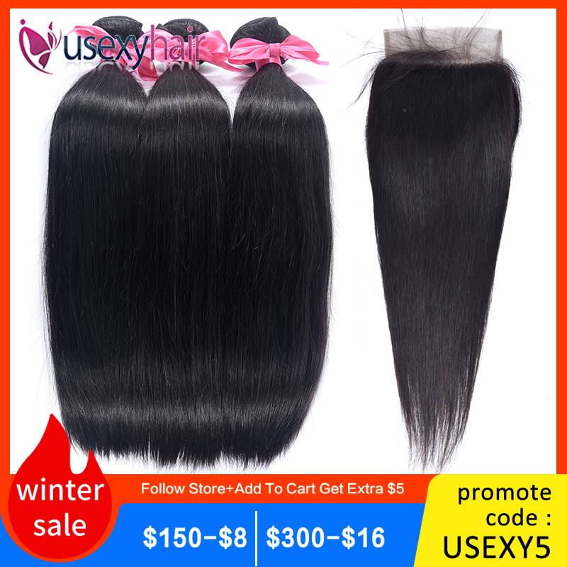Straight Hair Bundles With Lace Closure Peruvian Hair Bundles With Closure Remy Hair Weave Bundles With Closure Hair Extensions