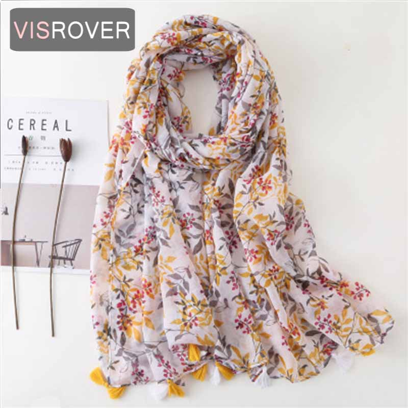 VISROVER 2020 New Leaves Printing Viscose Summer Scarf With Tassel Fashion Beach Wraps Spring Shawls Hijab Gift Wholesales