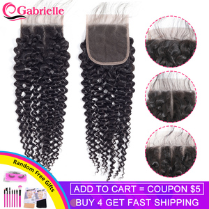 Gabrielle Brazilian Human Hair Kinky Curly Closure Free/Middle/Three Part 4x4 Lace Closure with Baby Hair Remy Hair Swiss Lace