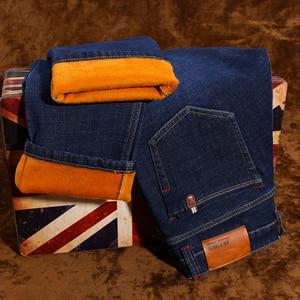 Image 3 - 2020 zima nowy marka męska ocieplane dżinsy dorywczo rozciągliwe dopasowanie spodnie dżinsowe męskie duże rozmiary męskie spodnie 40 42 44 46 czarny niebieski