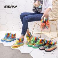 SWYIVY bottes de pluie femmes bottines 2019 bottes femmes chaudes chaussures de gelée arc-en-ciel chaussures transparentes imperméables bottes gomme antidérapante