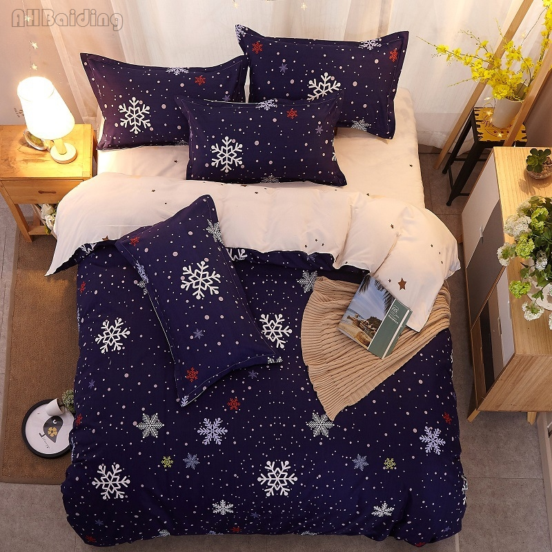 Home Textile Winter Blue Snowflake Bedding Set Kids Christmas Gift Bed Linen Include Duvet Cover Flat Sheet Pillowcase King Size
