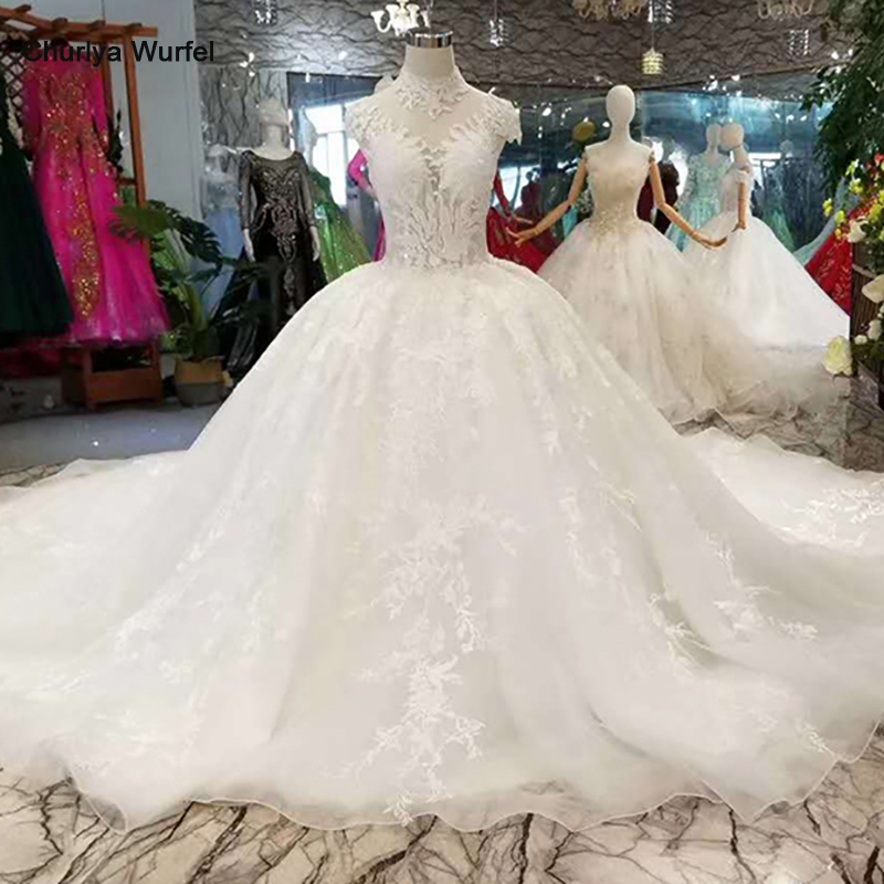 LSS113 Pure New Wedding Dresses Like White Free Shipping High Neck Cap Sleeves Appliques Wedding Gowns China Factory Wholesale