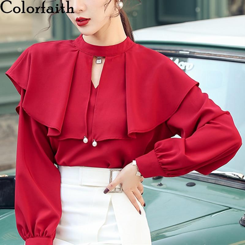 Colorfaith New 2020 Women Spring Summer Blouse Shirts Ruffles Chiffon Casual V-Neck Vintage Elegant Loose Poncho Tops BL9185