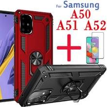 Para samsung galaxy a51 caso 4g a52 5g a50 telefone capa de metal para um 50 51 52 a51case a52case protetor de tela de vidro protetor 2in1