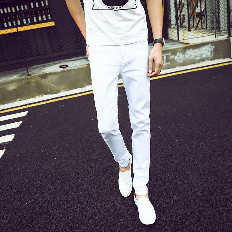 Edison Spring And Summer Men White Jeans Slim Fit Elasticity Skinny Pants Fashion Long Pants 8011